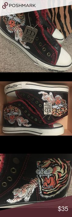 Ed Hardy Sneakers. Women's size 5 Ed Hardy women's size 5 sneakers. Tiger design. New, never worn. Ed Hardy Shoes Sneakers