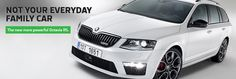 The ŠKODA Octavia RS wagon. My car of choice right now. Practical, sporty, and looks greta in white and black with a flash of red - perfect combination. Vw Group, Wagon Cars, Black Edition, Car Accessories, Sporty, Bike, November 2013, F1, Specs