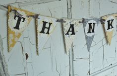 "Wedding Photo Prop ""THANK YOU"" Banner - Grey and Yellow - Garland - Decoration. $31.50, via Etsy."
