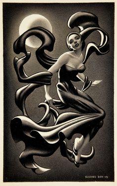 HANNES BOK - Woman Dancing, story illustration, 1949