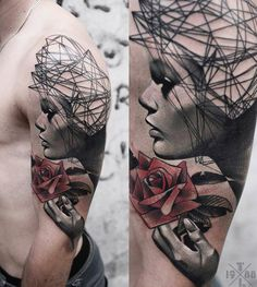 Abstract Face Tattoo by Timur Lysenko | Tattoo No. 12639