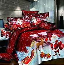 Дед мороз красный 4 шт 3d постельные принадлежности комплект queen king размер doona пододеяльник крышки одеяла одеяло подушка кровать лён комплект(China (Mainland))