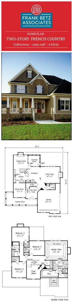 Culbertson: 2443 sqft, 4 bdrm, two-story, french country house plan design by Frank Betz Associates Inc. I love this house. I would make the dining room a separete walk in pantry and small office. Existing pantry would be a longer desk. House Plans One Story, Best House Plans, Small House Plans, House Floor Plans, Sims, Br House, French Country House Plans, Home Design Plans, Plan Design