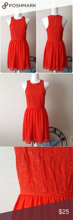 "Socialite Fiery Red Dress NWT Socialite fiery red dress with eyelet bodice and chiffon skirt with lining and zippered back closure. Size: medium.   Perfect for date night or Valentine's dinner!  17"" across from shoulders  14"" across at the waist 35"" length from shoulder to bottom hem Socialite Dresses Mini"