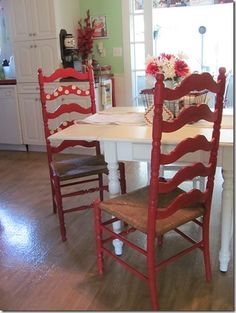 painted ladder back chairs