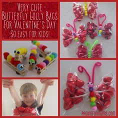 Cute Peg Butterfly Lolly Bags for Valentine's Day! Valentine Crafts For Kids, Valentines Day Party, Be My Valentine, Holiday Crafts, Holiday Fun, Valentine Ideas, Fete Ideas, Party Ideas, Gift Ideas