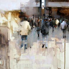 """Tibor Nagy (Male, Slovakia)/ """"On the Street""""/ Oil - 17.7"""" x 17.7"""""""