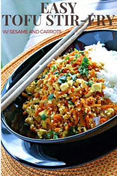 Tofu Stir-Fry with Sesame and Carrots. A supper quick, 5 ingredient, meal for busy weeknights. Kids love this! Healthy Family Meals, Healthy Eating Habits, Healthy Recipes, Tofu Stir Fry, Easy Vegetarian Dinner, Food Blogs, Weeknight Meals, Thanksgiving Recipes, Food Processor Recipes