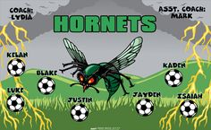 Hornets digitally printed vinyl Soccer sports team banner. Made in the USA and shipped fast by Banners USA. http://www.bannersusa.com/art/templates_2/digital/banners/VBS_BB_banners.php