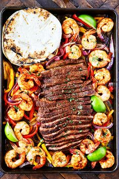 Steak and Shrimp Sheet Pan Fajitas