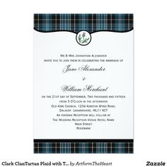 Clark ClanTartan Plaid with Thistle Wedding Invite