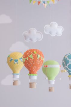 Bright and Colorful Baby Mobile Lime Green by sunshineandvodka