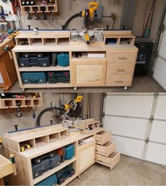 Woodworking Bench Miter saw stand plan with some personal modifications to meet his needs. Woodworking Saws, Woodworking Shop Layout, Woodworking Workshop, Woodworking Crafts, Woodworking Techniques, Woodworking Basics, Woodworking Store, Japanese Woodworking, Miter Saw Stand Plans