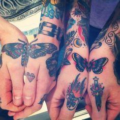 butterfly hand tattoo