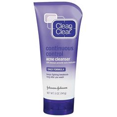 Clean & Clear Continuous Control Acne Cleanser ($4.99) ❤ liked on Polyvore featuring beauty products, skincare, face care, face cleansers, beauty, skin care, facial cleansers, oil free face wash, clean clear face wash and fragrance free face wash