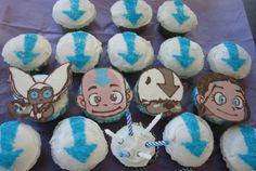 Avatar The Last Airbender cupcakes including Aang, Katara, Appa, and Momo.