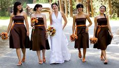 I thought I wanted burnt orange bridesmaid dresses but I really love this brown with the orange accents.
