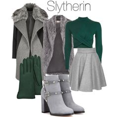 Slytherin Winter by hilldod90 on Polyvore featuring polyvore, fashion, style, Topshop, River Island, DKNY, MSGM, Valentino, Forzieri and clothing