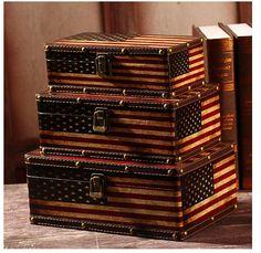 Set of 3 Retro Vintage American Flag Suitcase Storage Boxes Decorative Box Chest & US Flag Luggage Trunk Treasure Storage Box Vintage Suitcase Retro ...