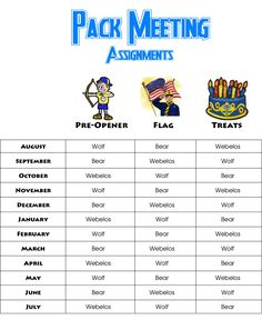 Akela's Council Cub Scout Leader Training: Cub Scout Pack Meeting Yearly Rotation of Assignments for Pre-Opener, Flag Ceremony, and Treats or Refreshments - Free Printable to give to Den Leaders - Yearly Pack Planning Meeting Cub Scout Crafts, Cub Scout Activities, Kid Activities, Cub Scouts Wolf, Tiger Scouts, Scout Mom, Girl Scouts, Pack Meeting, Scout Camping