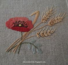 wheat and poppy Embroidery Needles, Crewel Embroidery, Ribbon Embroidery, Floral Embroidery, Embroidery Patterns, Hand Embroidery Projects, Embroidery Techniques, Bordado Tipo Chicken Scratch, Poppy Pattern