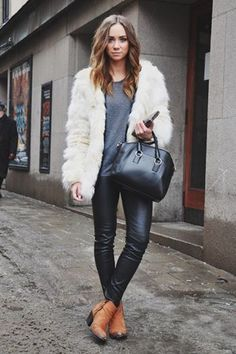 Casual look streetstyle #fur