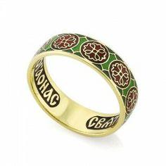 Православное кольцо с эмалью молитва ко свт. Николаю Чудотворцу из золота КЗЭ0802