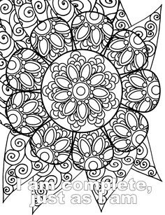 I am complete just as I am Free Affirmation Adult Coloring Page