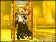 Rainy_London_Night_by_Lionheartcartoon, Kim Possible and Ron Stoppable Kim Possible Funny, Kim Possible And Ron, Kim And Ron, Disney And Dreamworks, Disney Pixar, London Night, Couple Cartoon, Cartoon Characters, Cartoon Icons