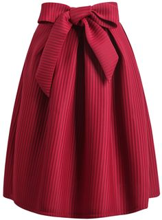 Wine Red Bow Vertical Stripe Skirt
