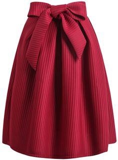 Wine Red Bow Vertical Stripe Skirt 26.09