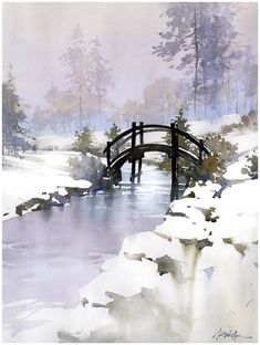Dawes Bridge 2 by Thomas W. Schaller Watercolor ~ 24 inches x 18 inches - Dawes Bridge 2 by Thomas W. Schaller Watercolor ~ 24 inches x 18 inches - Art Watercolor, Watercolor Landscape, Landscape Art, Landscape Paintings, Snow Scenes, Winter Scenes, Winter Painting, Painting Snow, Chiaroscuro