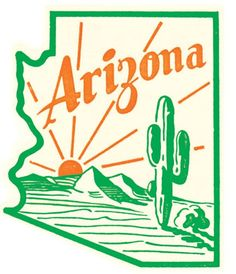 arizona cactus Arizona Cactus Vintage Travel Decal / These retro travel designs will make a great addition to your RV / Airstream / Winnebago / travel trailer / motorhome / westfalia / Arizona Tattoo, Arizona Cactus, Logo Vintage, Vintage Room, Retro Room, Vintage Party, Vintage Branding, Poster S, Travel Design