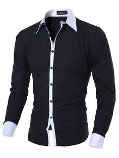 fa543a4b4 2018 New Fashion Brand Casual Men Shirt Long Sleeve Slim Fit Solid color  Shirt Black Mens Dress Shirts Men Social Clothes M-XXL