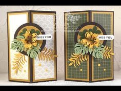 Decorative Corner Card Fold Video using Stampin' Up! Botanical Blooms and Botanical Builder Framelits Dies along with Going Places Designer Paper. Debbie Henderson, Debbie's Designs.