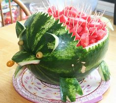 Carving on Watermelon