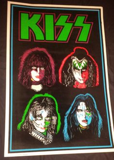 Kiss: solo faces black light poster 1992 Psychedelic Effects, Psychedelic Fashion, Kiss Rock Bands, Kiss Pictures, Black Light Posters, Hot Band, Band Photos, Vintage Posters, Faces