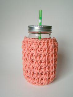 Large Peach Mason Jar cozy Crochet jar sleeve by HookMadness, $10.00