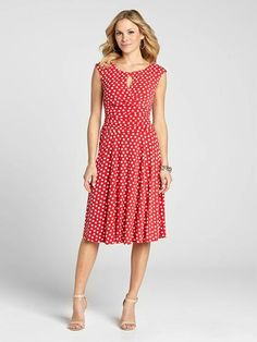 """Laura Petites: for women 5'4"""" and under. For a garden party or any outdoor event, this gorgeous dress is one to reach for! It boasts a pretty polka dot print and a keyhole neck, the perfect combo for the Spring season!...4010101-0507"""