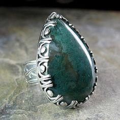 statement ring moss agate nature jewelry metalsmith artisan
