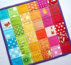 rainbow squares mug rug