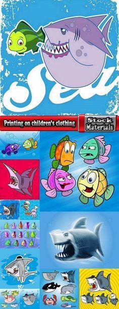 Printing on children's clothing T-shirt Fish Sea animals illustration EPS 13