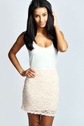 Eve Scalloped Lace Bodycon Mini Skirt