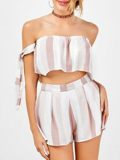 d31e4cab2d6 AdoreWe - Zaful Stripe Strapless Crop Top and High Waisted Shorts -  AdoreWe.com Fashion
