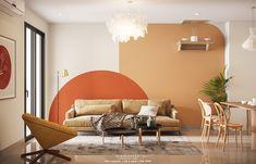Orange Accent Walls, Bedroom Wall, Bedroom Decor, Wall Design, House Design, Orange Furniture, Bedroom Orange, Room Inspiration, Living Room Decor