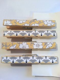 Set of 4  Decorative Clothes Pins  Yellow and by StephsScrapsNTags, $2.00