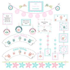 DIY Printable Pastel Owl Party Decorations by mylittleworldstore, $20.00