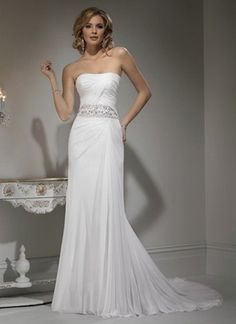 2012 Strapless Beaded Corset Chiffon Wedding Dress $443.99 Strapless Wedding Dresses