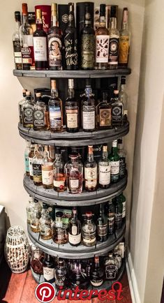 Whisky Shelf made from old wooden wire spools DIY - #Diy #Shelf #spools #Whisky #Wire #Wooden | interior in 2019 | Pinterest | Home bar designs, Bars