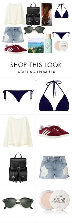 """#434"" by glitterunicorns-are-awesome ❤ liked on Polyvore featuring Zimmermann, Uniqlo, adidas, Aspinal of London, Frame, Ray-Ban, Fresh and Benefit"